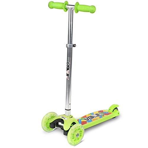 Vokul Mini Kick Scooter for Kids Age 3 and Old Kick Glider 3 Wheel LED light with Adjustable Height for Childhood Fun - Excellent Stable Lean-to-Steer Mechanism