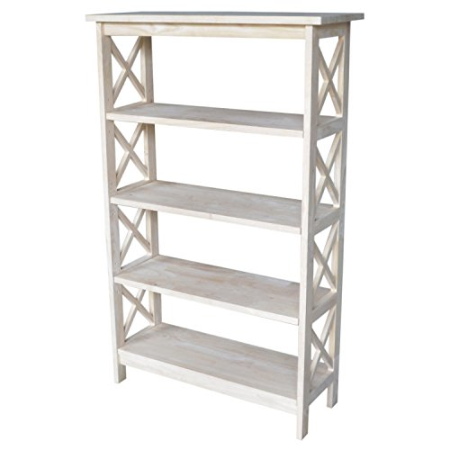 International Concepts SH-4830X 4-Tier X-Sided Bookcase, Unfinished