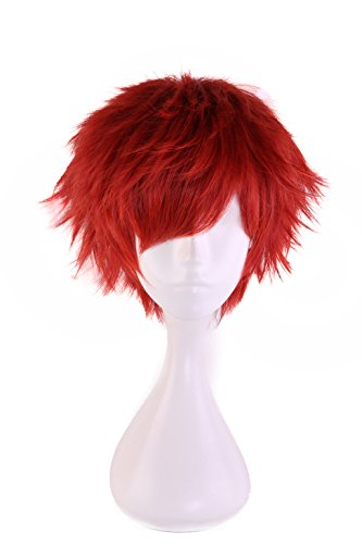 HH Building Short Layered Curly Anime Fashionable Cosplay Costume Wig Red Hair -