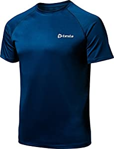 CLSL TM-MTS03-AMB_Small Tesla Men's HyperDri Short Sleeve T-Shirt Athletic Cool Running Top MTS03