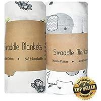 cottingtonlane Baby Swaddle Blanket -Extra-Large Size 120 x 120 cm, Organic Muslin Cotton, Pack of 2 -Monkey and Elephant Designs (Blue)