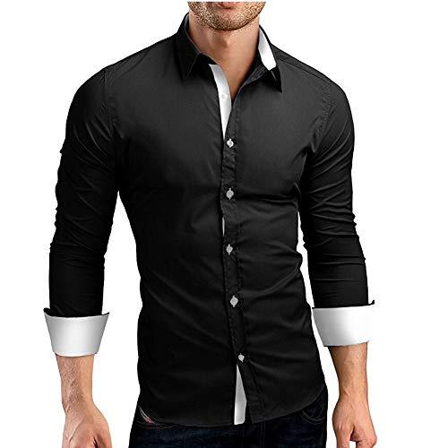 huoaoqiyegu - ☀Men's Solid Formal Shirts☀/Slim Fit Long Sleeve/Office Button Down Dress Shirt/Wild Tops Blouse Tees Grey ()