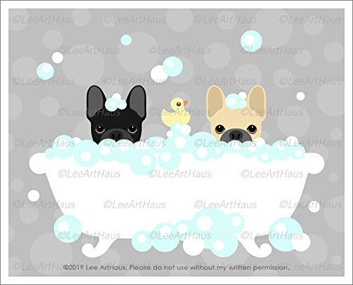 824D - Two French Bulldogs in Bubble Bath Bathtub UNFRAMED Wall Art Print by Lee ArtHaus