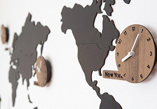 ハンドメイドの壁掛け時計 世界地図 WORLD TIME MONO (ブラック(黒)) B01AQOHTF8ブラック(黒)