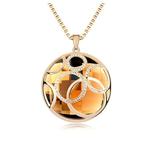 Aooaz Alloy Sweater Necklace Pendant Necklace For Women Ball Brown CZ Crystal Coffee Necklace for Girls - Light Up Dark Bride Child Costumes