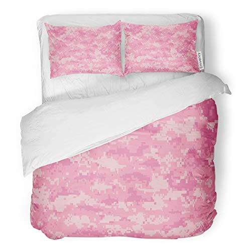 - SanChic Duvet Cover Set Pink Digital Girly Camo Pixels Camouflage Girl Pattern Decorative Bedding Set with 2 Pillow Cases Full/Queen Size