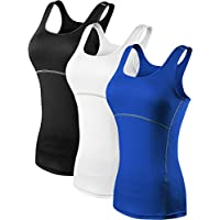 Neleus Women's 3 Pack Dry Fit Workout Compression Long Tank Top