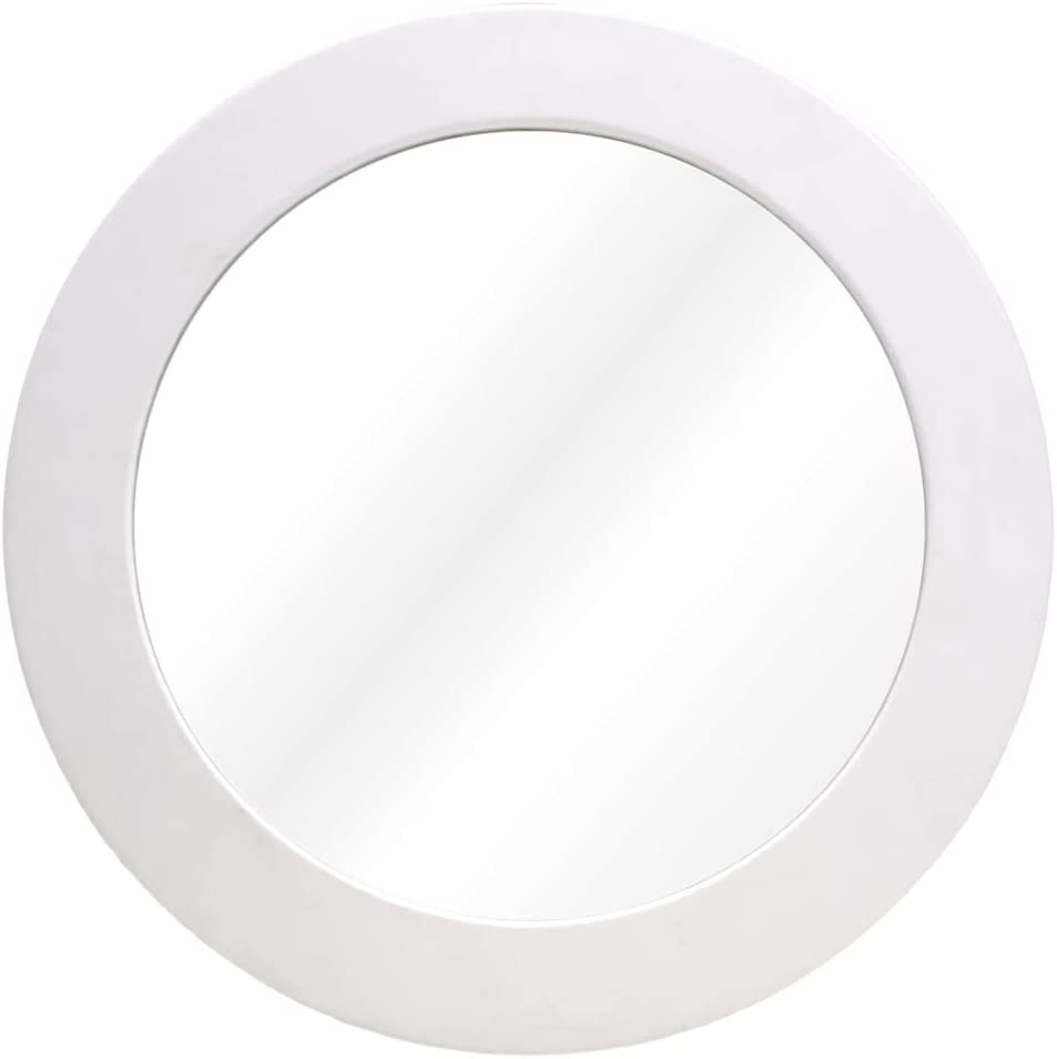 Wocred White Round Mirror for Wall Decor, Elegant Leather Wall Mirror, I pcs Entry Mirror for Entryways, Washrooms, Living Rooms and More (White, 12
