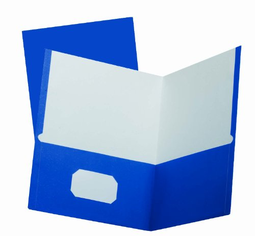 Oxford School Grade Two-Pocket Folders, Blue, Letter Size, 25 per Box, (50754)