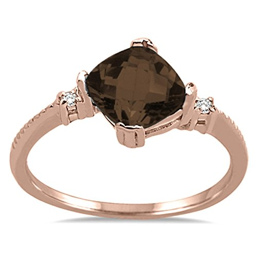 Gold Quartz Smokey 10k (Cushion Cut Smokey Quartz and Diamond Ring in 10K Rose Gold)
