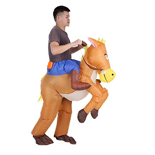 Anself Funny Inflatable Costume Halloween Party Blow Up Inflatable (Horse Riding Costume)