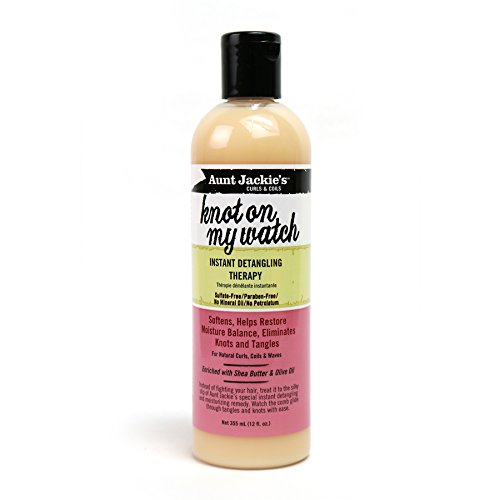 Hair Knot (Aunt Jackie's Knot On My Watch, Instant Leave-in Detangling Therapy, Great for Hard to Manage Hair, Enriched with Shea Butter and Olive Oil, 12 Ounce Bottle)