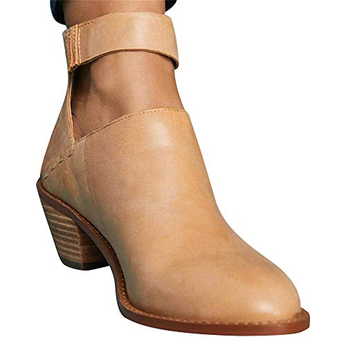 VANDIMI Womens Cut Out Chunky Heel Strap Ankle Boots Block Stacked Booties Zipper PU Leather Shoes ()