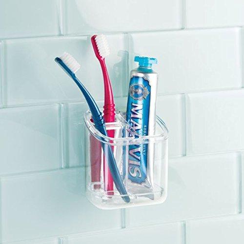 mDesign Accesorios para el baño - Porta cepillo de dientes autoadhesivo - Ideal como soporte para cepillo de dientes y dentífrico - También para pinceles de ...