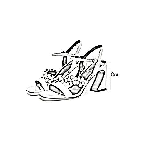 ZHWEI und Sommer Hohem 8cm Frühling Sandalen Absatzhöhe Pumps Frau mit H61750 Absatz IOX4Iqr