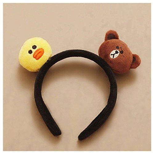 Lovef Bear Lori Chicken and Rabbit Ears Headband Costume Set ~ Halloween Costume Kit (Yellow+Coffee)