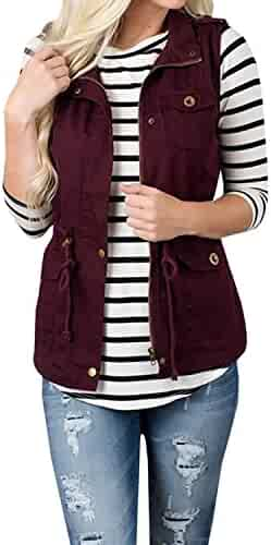 1430ae8ddcc79 Annystore Women s Casual Sleeveless Lightweight Drawstring Botton Zipper Up Jacket  Vest Coat With Pockets