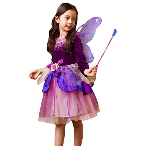 LOLANTA Girls Halloween Butterfly Fairy Costume Kids Role Play Costume Wing  Wand (Purple Long b74349614b96