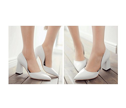 Shoes Size Shallow Wedding Heel Retro White Shoes 39 Spring Dream Female Heels Bridesmaid High Color White Mouth Chunky naSPxRqwx1