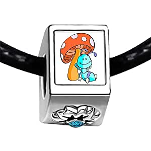 Chicforest Silver Plated Lying In The Mushroom Ant Photo Blue Zircon Crystal December Birthstone Flower Charm Beads Fits Pandora Bracelet