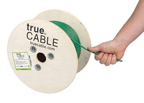 (Cat6 Plenum (CMP), 500ft, Green, 23AWG 4 Pair Solid Bare Copper, 550MHz, ETL Listed, Unshielded Twisted Pair (UTP), Bulk Ethernet Cable, trueCABLE )