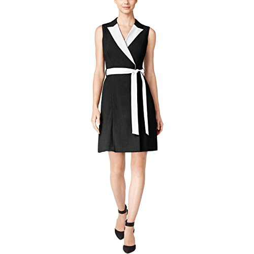 Dress Calvin Cream Black Klein Belted Wrap Colorblocked 10 Women's rXvqwPX