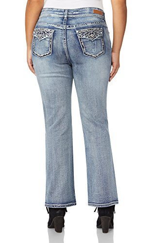 Embroidered Slim Cut Jeans (WallFlower Plus Size Luscious Curvy Bling Bootcut Jeans In Kerri, 20 Plus)