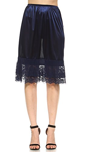 - Melody Long Double Lace Satin Half Slip Extender Underskirt Skirt Extender 24