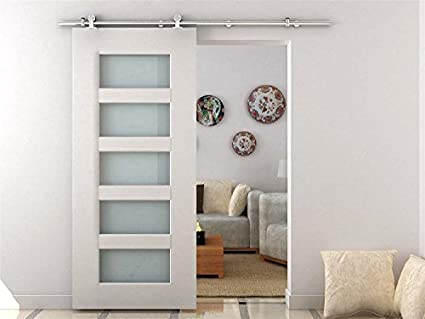 Charmant HomCom Modern 6.6u0027 Interior Sliding Barn Door Kit Hardware Set   Stainless  Steel Tube