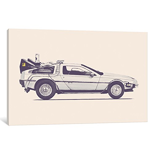"""iCanvasART FLB26 Delorean-Back to The Future Gallery Wrapped Canvas Art Print by Florent Bodart, 12"""" x 0.75"""" x 18"""" from iCanvasART"""