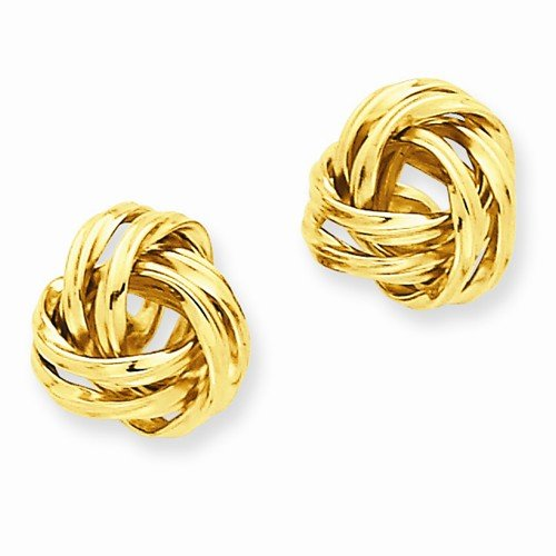 Solid 14k Yellow Gold Polished Love Knot Post Earrings (12mm x 12mm) by Sonia Jewels (Image #2)