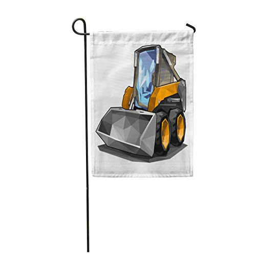 Semtomn Garden Flag 12x18 Inches Print On Two Side Polyester Bobcat Small Skid Loader in Polygonal Style Solid Fill Only No Gradients Road Home Yard Farm Fade Resistant Outdoor House -