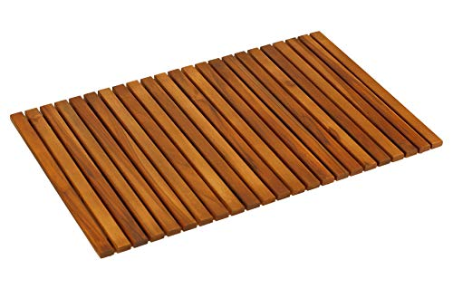 Bare Decor Nori Shower, Spa, Door Mat in Solid Teak Wood and Oiled Finish, Large: 31.5