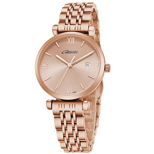 CARDQIOU Women Watch Women Rose Gold Watch Stainless Steel Waterproof Ladies Watch Women's Watch Clearance Sale