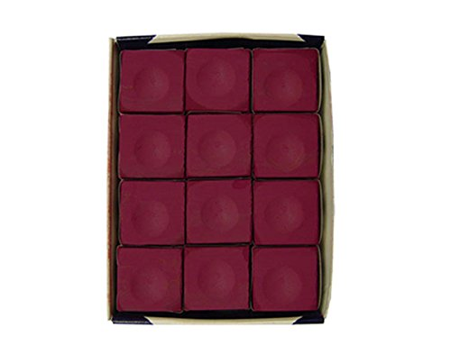 Silver Cup Billiard Chalk Cubes in Burgundy - 12 Pc Set