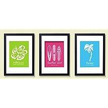 Surf Art - Surfer Girl Poster Boards - Set of Three