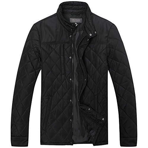 The+Plus+Project+Men%27s+Quilted+Coat+With+Large+Buttons+Pockets+X-Large+Black