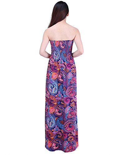 HDE Women's Strapless Maxi Dress Plus Size Tube Top Long Skirt Sundress Cover up (Purple Paisley, 2X) by HDE (Image #3)