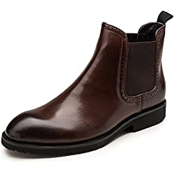 Zorgen Men's Chelsea Boots Genuine Leather Round Toe Wedding Formal Boots