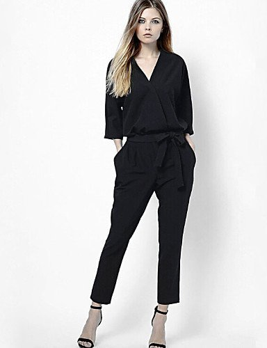 GSP-Damen Jumpsuits - Leger ¾-Arm Leinen Mikro-elastisch