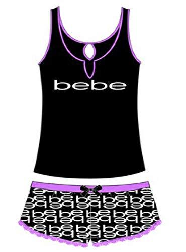 bebe Womens Logo Tank Top and Pajama Shorts Lounge Sleep Set Black Medium ()