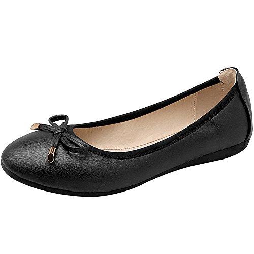 rismart Mujer Baile Ponerse Plano Bowknot Elegante Suave Bailarinas Zapatos Negro