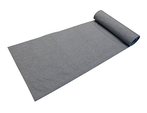 Home Queen Extra Long Faux Linen Table Runner, Elegant Dining Cloth Table Scarves, Outdoor Handmade Fabric Runner, Set of 1, 72 L X 14 W Inches, Solid Gray