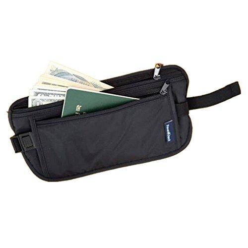 - ReachTop Travel Money Belt Hidden Pouch Waist Bag Waterproof Undercover Fanny Pack Nylon Black Waist Belt Adjustable for Men Women Running Travelling Hiking