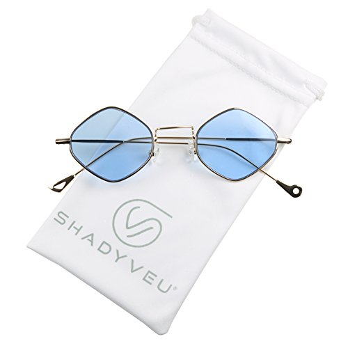 ShadyVEU - Exclusive Diamond Shaped Candy Color Tint Flat Lens Vintage Sunglasses (Gold Frame / Blue Lens, 134) - Exclusive Glass