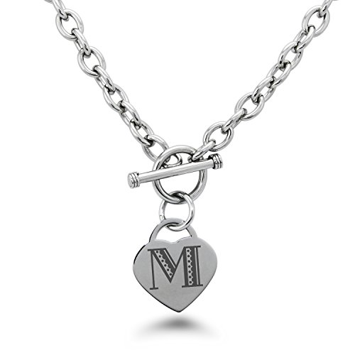 Stainless Steel Letter M Initial Metro Retro Monogram Heart Charm Toggle, Necklace Only ()