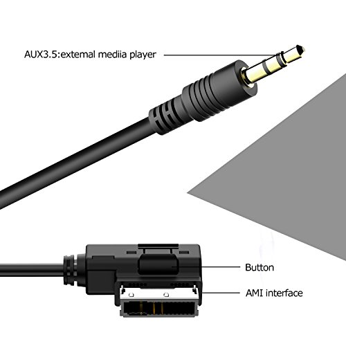 Tabiger Portable Music Interface AMI MMI AUX Adapter Cable 3.5mm Jack Aux-IN MP3 Cable for Audi ...