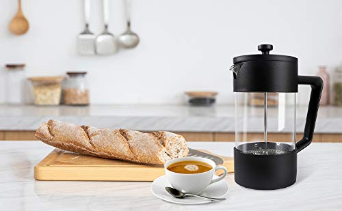 French Press Coffee Maker 34oz 304 Stainless Steel Coffee Press with 4 Filters Screen-100% No Residue Microwave food plastic-German Heat-Resistant Upgrade thickening 3mm high borosilicon glass (Black)