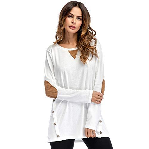 Primavera Sudadera Lover Bosillo Basica Cuello Larga Blanco Carnaval Oficina Mujer Manga Verano Blusa Redondo Camiseta Fiesta beauty Casual Camisa Suelto Fwq8p4wX
