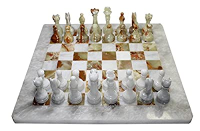 Classic White/Multi-Green Brown Weighted Marble Full Chess Board Game Set For Adults (33 Pieces), 16 inches